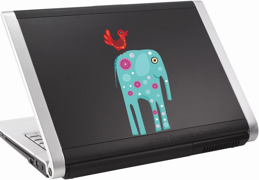 Big Blue Elephant with Bird Vinyl Laptop Art