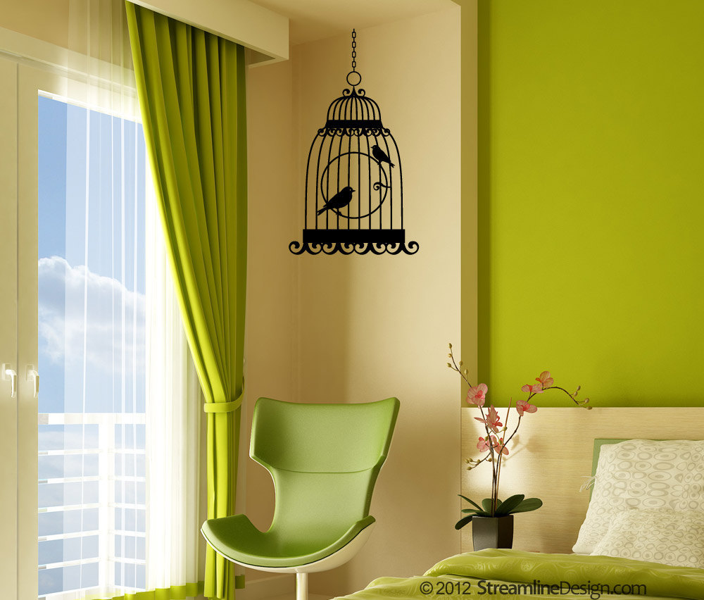 Birds in Cage Vinyl Wall Art