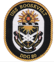 "5"" NAVY USS DDG-80 ROOSEVELT EMBROIDERED PATCH - $23.74"