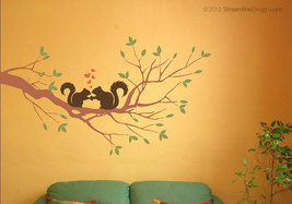 Squirrels In Love on Tree Branch Vinyl Wall Graphic Decor - $26.95