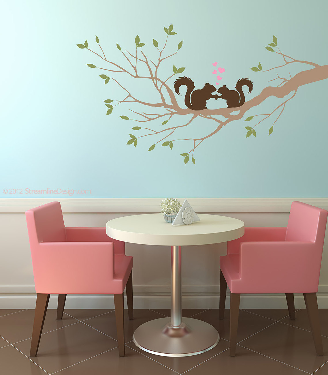 Squirrels In Love on Tree Branch Vinyl Wall Graphic Decor