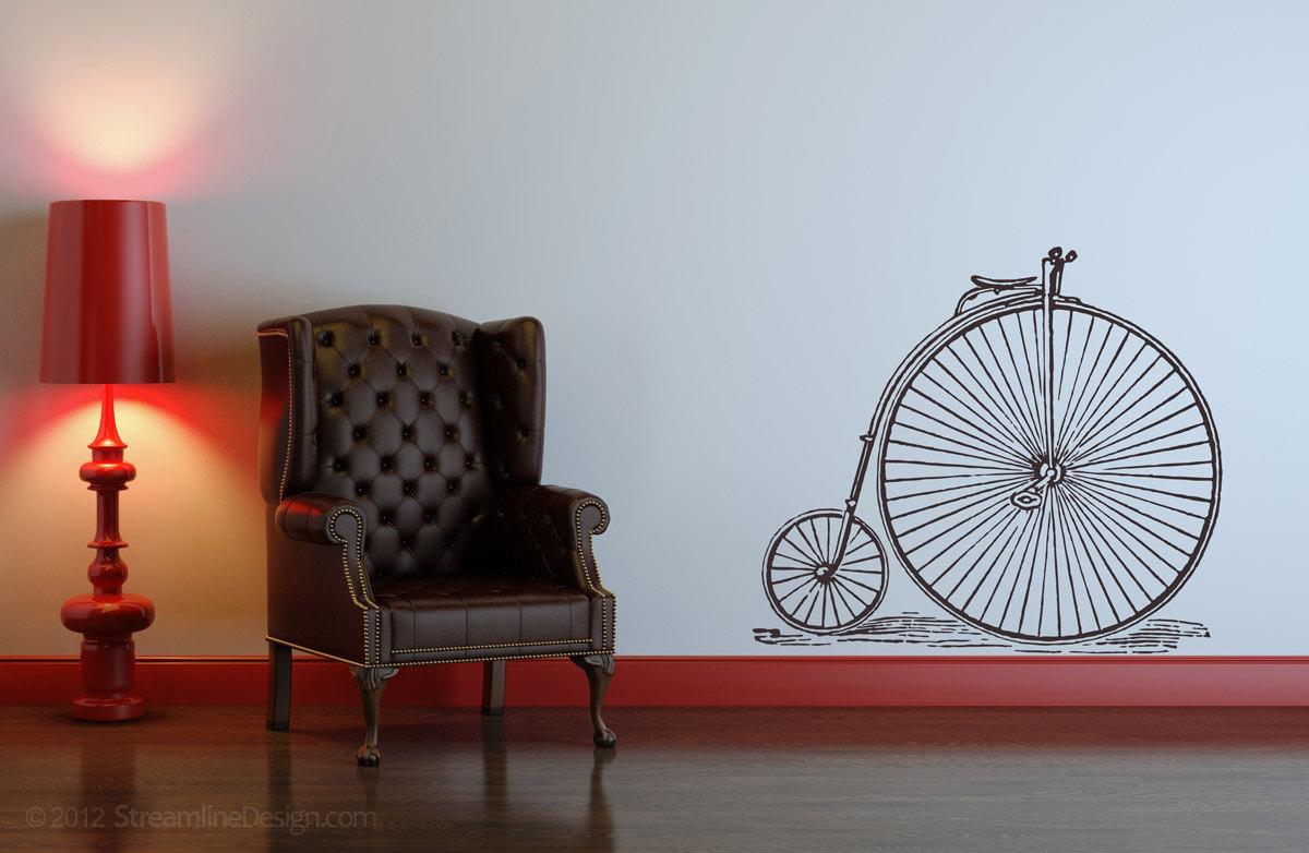 Vintage Style High Wheeler Bicycle Vinyl Wall Art