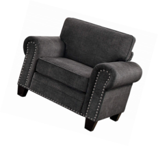 Homelegance Cornelia Rolled Arm Chair with Nail Head Accent Polyester Fa... - €301,82 EUR