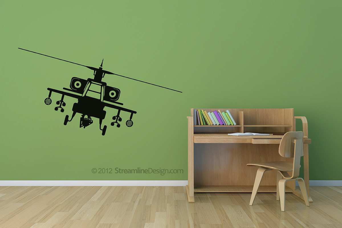 Apache Attack Helicopter Vinyl Wall Art Decor