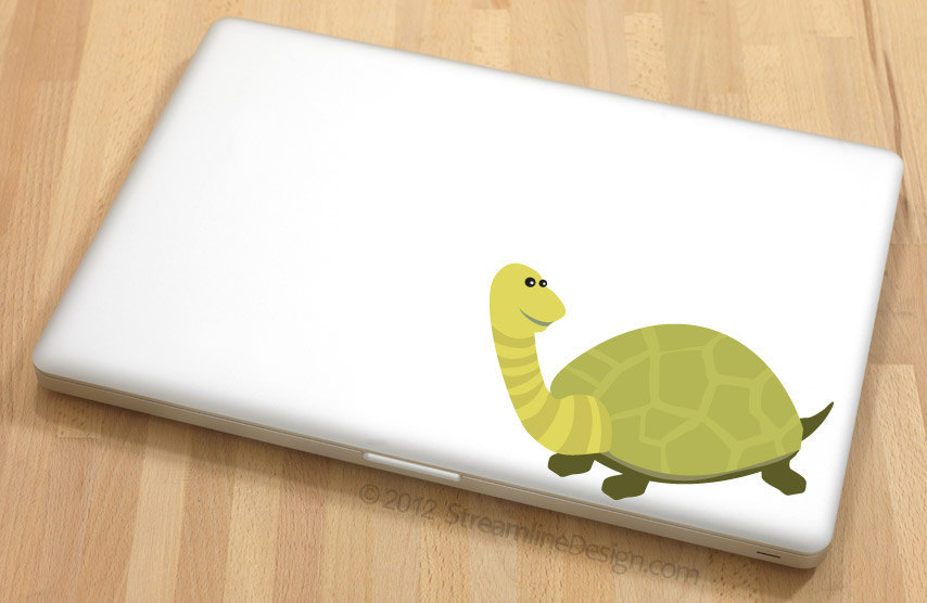 Adorable Green Turtle Vinyl Laptop Art