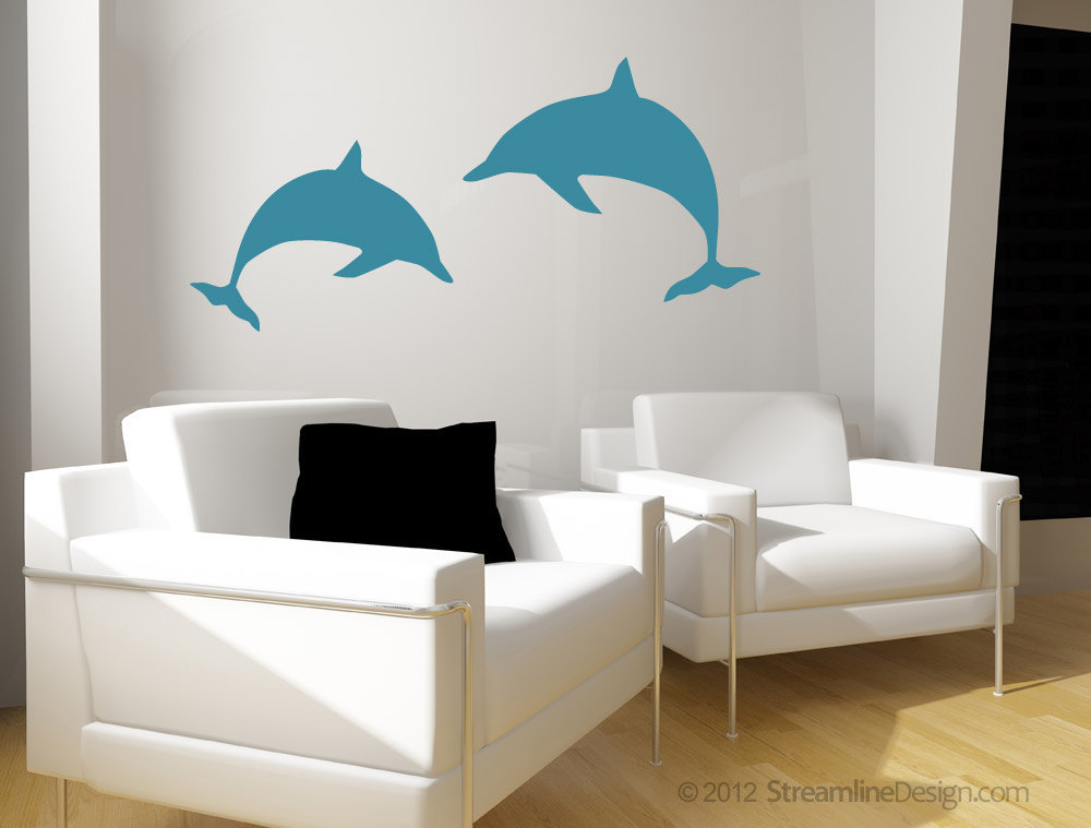 Pair of Dolphins Vinyl Wall Art