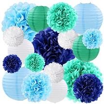 Blue Tissue Paper Pom Poms Flowers Decorations Hanging Paper Lanterns De... - $424,56 MXN
