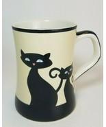 HUES N BREWS Cream Colored Coffee / Tea Mug with Black Cat Design - $16.78