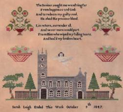 Sara Leigh 1847 sampler cross stitch chart Black Branch Needlework