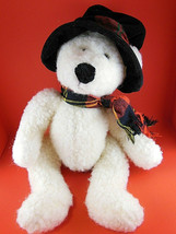 Russ Berrie Christmas Teddy Bear Plush named Topper with hat 14 inches Vintage - $15.83