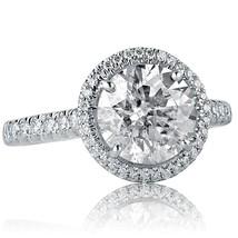 3.01 Carat Round Cut Diamond Halo Engagement Ring 18k White Gold - $6,335.01