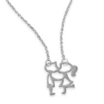 Sterling Silver Chain Necklace with Kissing Girl and Boy Pendant - $41.99
