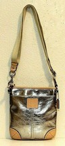 NEW! Coach Silver Metallic Leather Swingpack East Crossbody Bag #50168 - $70.00