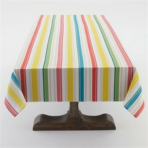 "Primary image for Sunny Stripe Indoor/Outdoor 60""W x 120""L Tablecloth Multi Colored Stripe"