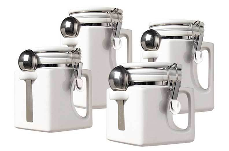 Primary image for New OGGI Handles Set of 4 White Kitchen Ceramic Canisters