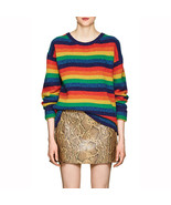 Women Samara Rainbow Multicolor Striped Wool Sweater - $209.00