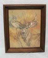 Vintage 1978 Silent Buck Deer Solid Wood Picture Frame Print Signed K Ma... - $59.99