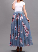 FLORAL Chiffon Long Skirt Dusty Blue Flower Silk Chiffon Skirt Summer Wedding  image 3