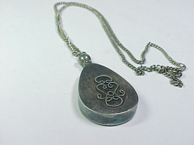 PERFUME BOTTLE Vintage PENDANT with Dipper in Sterling Silver and 925 NECKLACE