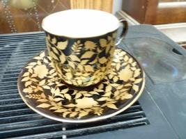 Black with Floral Gold Design Cup and Saucer Vintage - $17.82