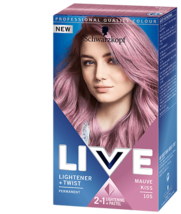Schwarzkopf Live Hair Dye Lightener Twist Hair Colour Mauve Kiss 105 Pin... - $15.89