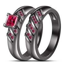 Brilliant Pink Sapphire Women's Bridal Wedding Ring Set 14k Black GP 925 Silver - $106.59