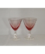 Tiffin Franciscan Wistaria Pink Crystal Water Goblets (2) Rose Pink & Clear - $35.00