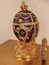 Faberge Style Egg box Fabergé Egg 24K GOLD 4ct Trinket Box Diamond Swar HANDMADE - $249.00