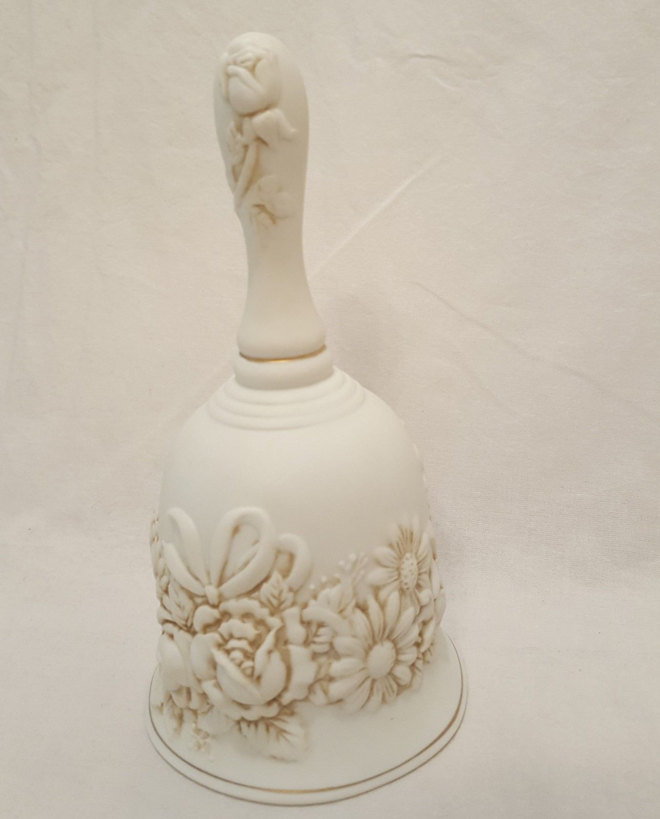 "Remembrance Bell 6""  Bisque Porcelain Creative Circle 8395 Off White"