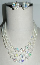 VTG Silver Tone Faux Pearl Clear AB Prystal Beaded Choker Necklace Earring Set - $29.70