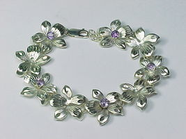 AMETHYST and STERLING FLORAL BRACELET - High End - 7 inches long - $135.00