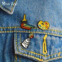 3pcs/set Painting tools Enamel pin Paint pigment Palette Brush Pin Brooch Shirt  - $4.99