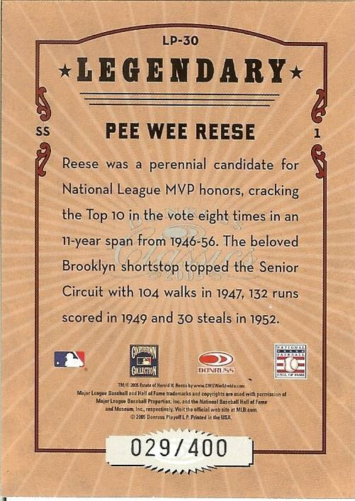 2005 donruss dodgers pee wee reese serial # 29/400