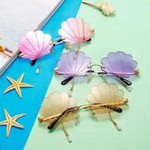 Vintage Rimless Sunglasses Women  Fashion Shell Designer Steampunk Sunglasses Me image 6