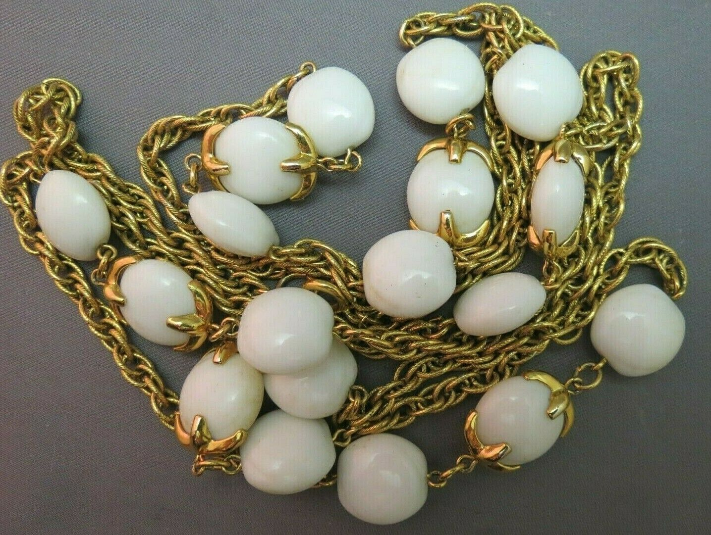 """VTG Crown Trifari Long Necklace Chain Gold Plated Glass Beads Couture 54"""" Long image 6"""