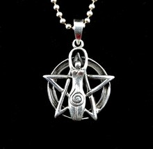 Handcrafted 925 Sterling Silver Spiral Goddess Pentacle Pentagram Pendant  - $22.61