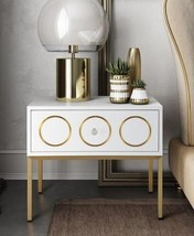 Anthropologie Replica Rondure Accent Table Nightstand White Lacquer Gold... - £315.18 GBP