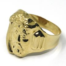 18K YELLOW GOLD BAND MAN RING, BIG JESUS FACE, MADE IN ITALY image 3