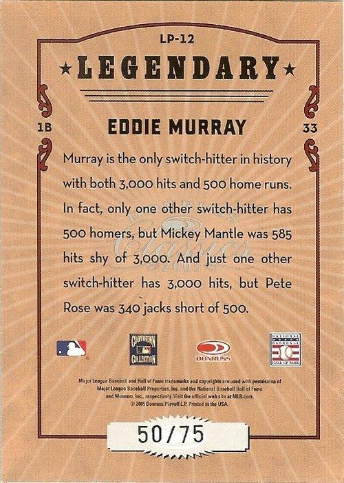 2005 donruss baltimore orioles eddie marray serial # 50/75