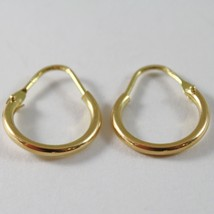 18K YELLOW GOLD ROUND CIRCLE EARRINGS DIAMETER 10 MM WIDTH 1.7 MM, MADE IN ITALY image 1