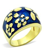 Blue Enameled Flower Dome Ring Gold Plated Stainless Steel TK316 - $14.00