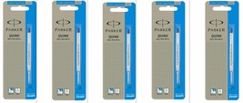 5 x Parker Quink Flow Ball Point Pen Refills BallPen Blue Medium New Sealed - $8.49