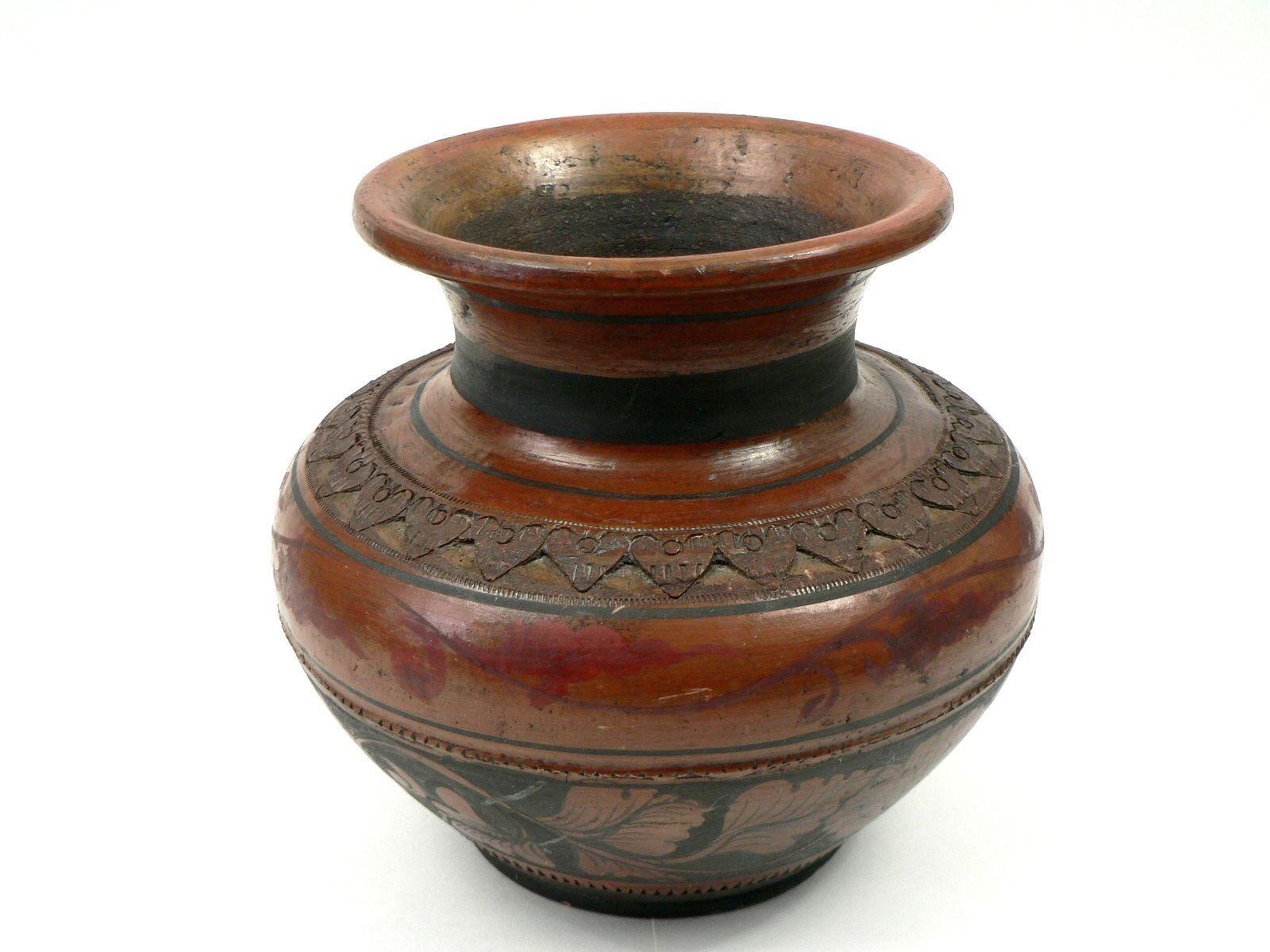 "Vtg Reddish Brown Pottery Vase w Black & Red Floral Paint & Carved Hearts 9""X9"" - $30.00"