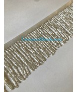 "By the Yard-3""-SILVER Glass BUGLE Bead Beaded Fringe Lamp Costume Trim - $13.99"