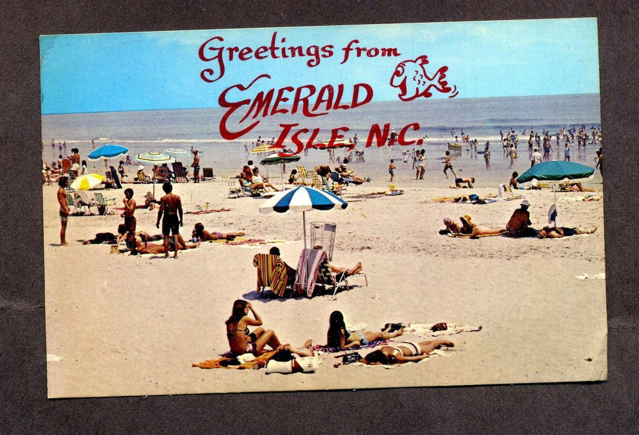 Primary image for Vintage Postcard 1985 Greetings from Emerald Isle, NC Beach Sunbathers