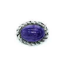 Antique Arts Crafts Sterling Silver Egyptian Amethyst Scarab Leaf Pin Br... - $224.99