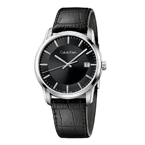 Calvin Klein Infinite Silver / Black Leather Analog Quartz Women's Watch K5S311C