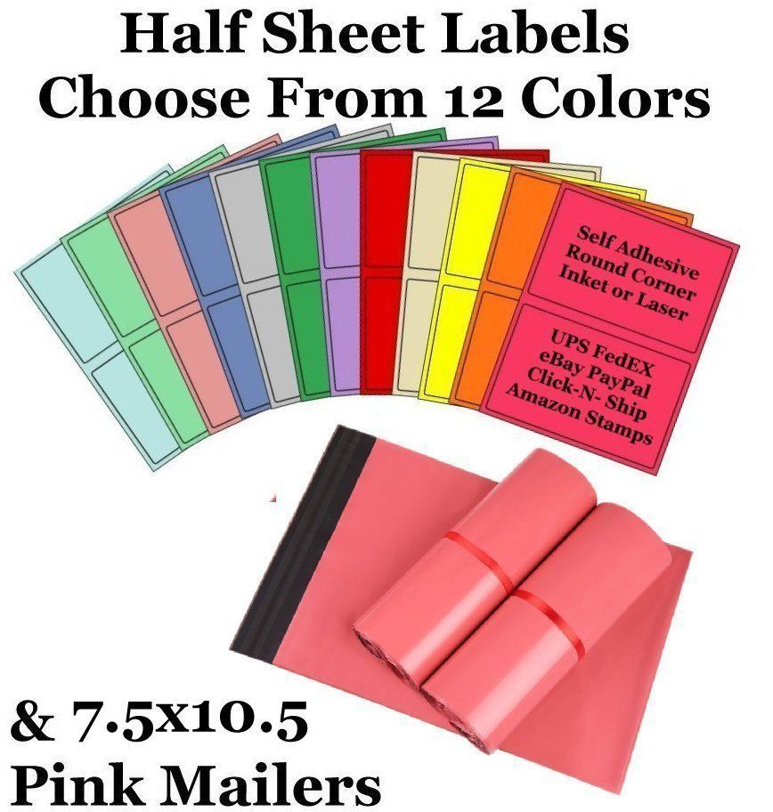 7.5x10.5 Pink Mailers + 8.5x5.5 Color Half Sheet Self Adhesive Shipping Labels