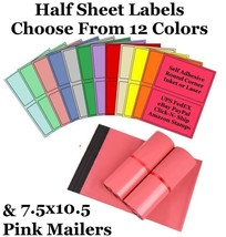 7.5x10.5 Pink Mailers + 8.5x5.5 Color Half Sheet Self Adhesive Shipping ... - $2.99+