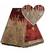 African George Lace Fabric Nigeria Lace Silk Sequin Fabric Bridal Dress ... - $76.98